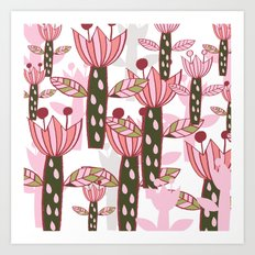 flower pink contemporary kids nursery Art Print