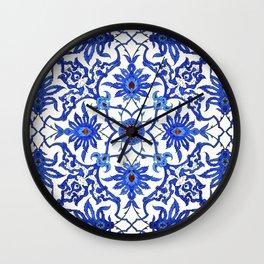 Art Nouveau Chinese Tile, Cobalt Blue & White Wall Clock