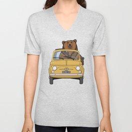 A brown bear riding a yellow convertible Unisex V-Neck