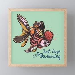 Just Keep Swimming Mint Goldfish Framed Mini Art Print