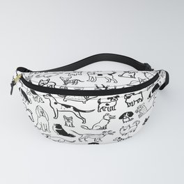 Black and White Dog Drawings | Cute Dog Breeds Pattern Fanny Pack