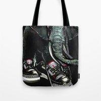 sneaker Tote Bags featuring SNEAKER ELEPHANT by Juan Diaz