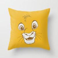 simba Throw Pillows featuring Simba  by Luxatr