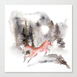 Fox Gamboling In The Mountain Mist Canvas Print