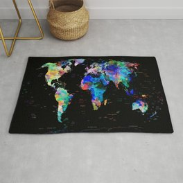 world map political watercolor Rug