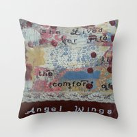 angel wings Throw Pillows featuring Angel wings  by drskippyart