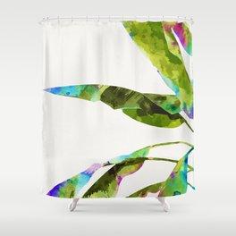 Banana Leaves Holi #painting #nature #tropical Shower Curtain