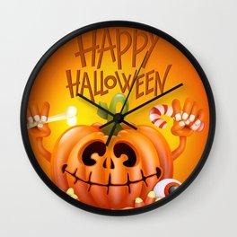 Happy Halloween Cannibal Jack O Lantern Pumpkinhead Ultra HD Wall Clock