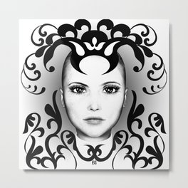 Black and white ornamental face Metal Print