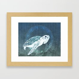 Green Sea Turtle Wreath Framed Art Print