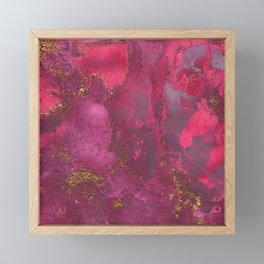 Pink and Gold Blush Rose Glitter Gemstone Marble Framed Mini Art Print