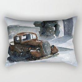 An old truck in snow Rectangular Pillow