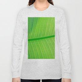 Close Up Of Green Banana Leaf Lime Green Tropical Leaf Long Sleeve T-shirt