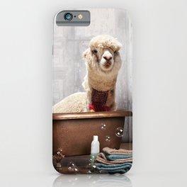 Llama in Vintage Bathtub iPhone Case