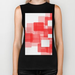 RED AND WHITE SQUARES ON A WHITE BACKGROUND Abstract Art Biker Tank