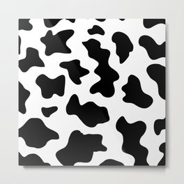 black and white ranch farm animal cowhide western country cow print Metal Print