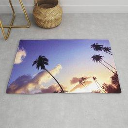 Love Palm Trees Coast  - Colorful Seaside Landscape Sunset Rug