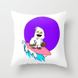 Betti the Yeti Surfin' by Way of the Purple Moon Throw Pillow
