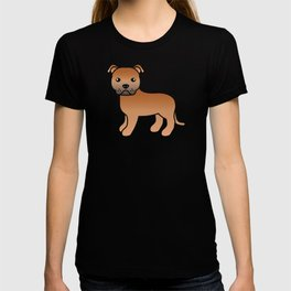 Red English Staffordshire Bull Terrier Cartoon Dog T-shirt