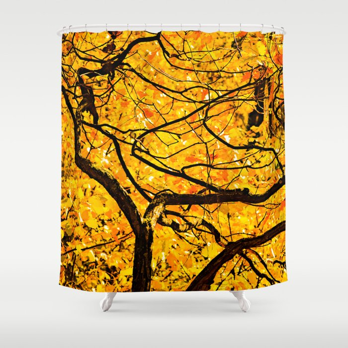 Golden Veins Of Autumn Shower Curtain by digital2real | Society6