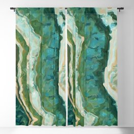 Blue Green Onyx Marble Abstract Vector Art Blackout Curtain