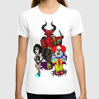 pennywise T-shirts featuring Triple Tim Treat! Tim Curry as Pennywise, Legend & Frankenfurter in Rocky Horror picture Show by beetoons