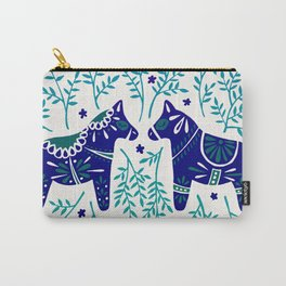 Swedish Dala Horses – Navy & Blue Palette Carry-All Pouch