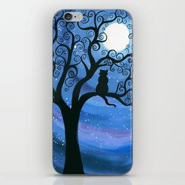 Meowing at the moon - moonlight cat painting iPhone Skin