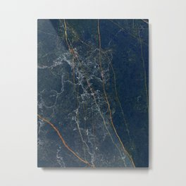 Deep blue and emerald marble Metal Print