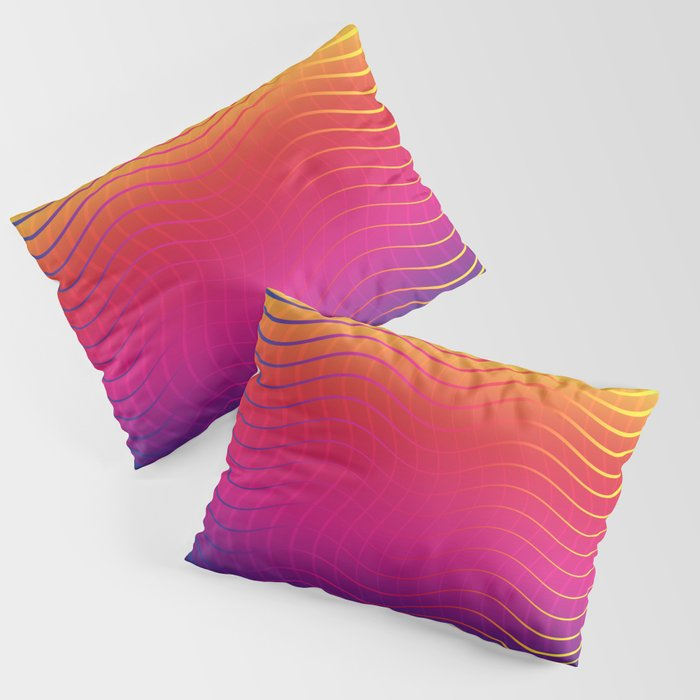Rippled Rainbow Waves Pillow Sham