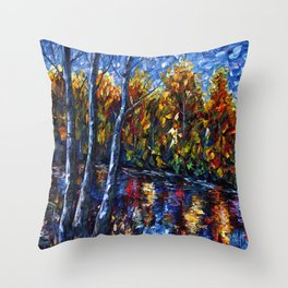 Autumn Forest River  (Palette Knife) Throw Pillow