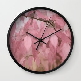 Soft Pastel Leaves  Wall Clock