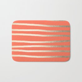 Simply Drawn Stripes in White Gold Sands on Deep Coral Bath Mat