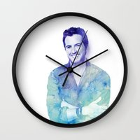luke hemmings Wall Clocks featuring Luke by Sharna Myers