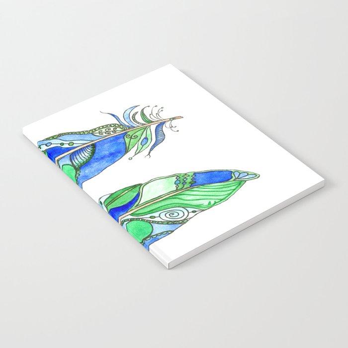 Bohemian Spirit Feathers - Blue & Green Notebook