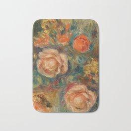 """Auguste Renoir """"Bouquet of Roses (Bouquet de roses)"""" Bath Mat"""