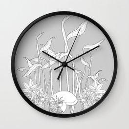 Underwater Plants, Seashell Black and White Fine Vector Illustration Wall Clock