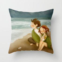 listen to the sea Throw Pillow