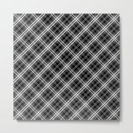Black and White Mayzes Tartan Plaid Check Metal Print