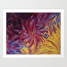 NIGHT FLOWERS 2 - Lovely Relaxing Modern Floral Abstract Acrylic Mauve Purple Plum Eggplant Painting Art Print