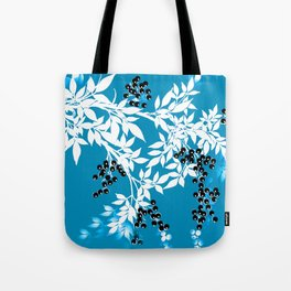 TREE BRANCHES BLUE AND WHITE WITH BLACK BERRIES TOILE Tote Bag