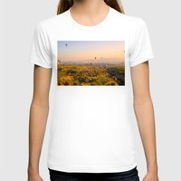 hot air balloons T-shirts featuring Hot Air Balloons Over Landscape by Limitless Design