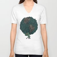 katamari V-neck T-shirts featuring Prince Atlas by Hector Mansilla