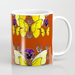 RUST COLORED YELLOW  BUTTERFLY & PANSY FLORAL Coffee Mug