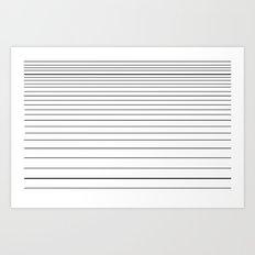 black on white stripes Art Print