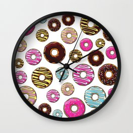 Donut Pattern, Colorful Donuts - Pink Blue Yellow Wall Clock