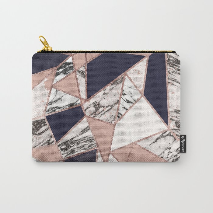 Geometric Navy Blue Peach Marble Rose Gold Triangle Carry-All Pouch