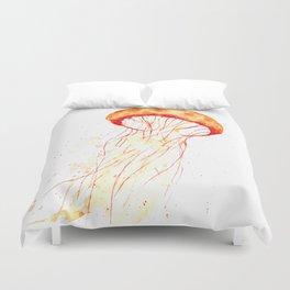orange jellyfish watercolor Duvet Cover