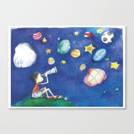 Stars and little planets Canvas Print