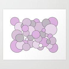 Bubbles - purple, gray and white. Art Print